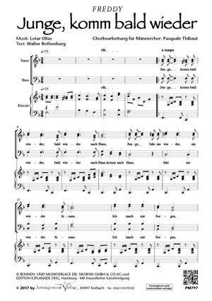 Chornoten: Junge, komm bald wieder (dreistimmig)