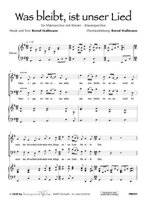 Chornoten: Was bleibt, ist unser Lied (dreistimmig)