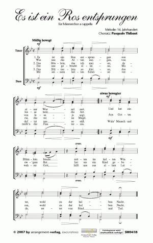 Chornoten: Es ist ein Ros entsprungen für Männerchor