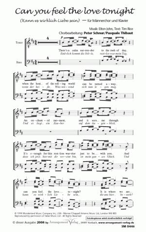 Chornoten: Kann es wirklich Liebe sein (Can you feel the love tonight) für Männerchor