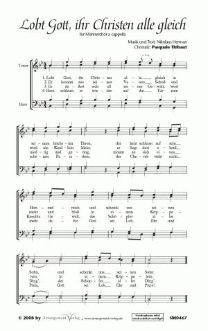 Chornoten: Lobt Gott, ihr Christen, alle gleich für Männerchor