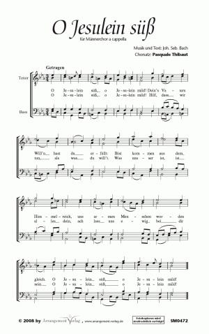 Chornoten: O Jesulein süß, o Jesulein mild für Männerchor