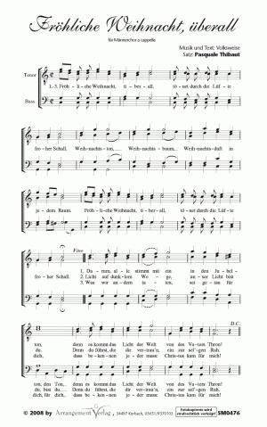 Chornoten: Fröhliche Weihnacht, überall für Männerchor