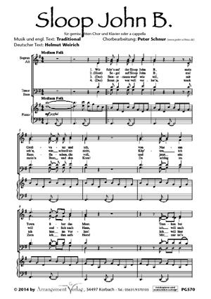 Chornoten: Sloop John B. für Männerchor