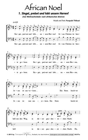 African Noel (vierstimmige Neubearbeitung) für Männerchor