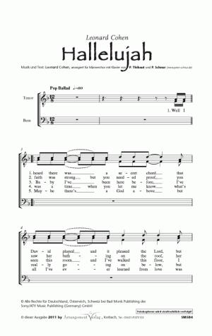 Chornoten: Hallelujah! (Cohen) für Männerchor