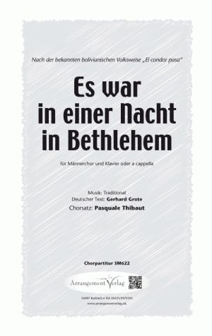Chornoten: Es war in einer Nacht in Bethlehem für Männerchor