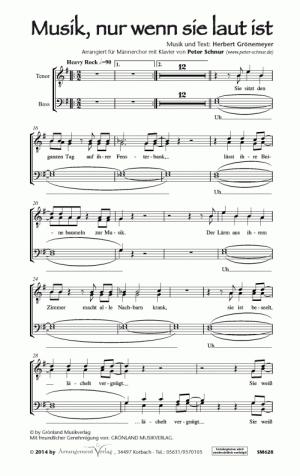 Chornoten: Musik, nur wenn sie laut ist für Männerchor
