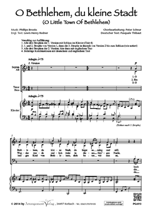 Chornoten: O Bethlehem, du kleine Stadt