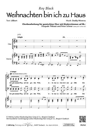 Chornoten: Weihnachten bin ich zu Haus für Männerchor