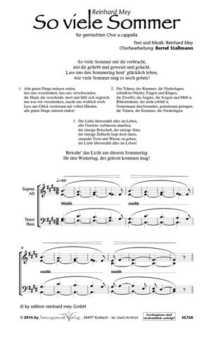 Chornoten So viele Sommer