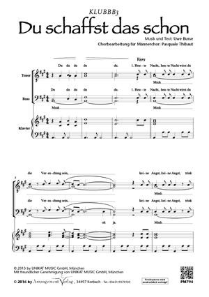 Chornoten: Du schaffst das schon! für Männerchor