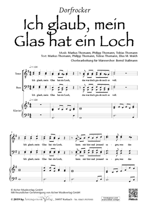 Chornoten: Ich glaub, mein Glas hat ein Loch (vierstimmig)