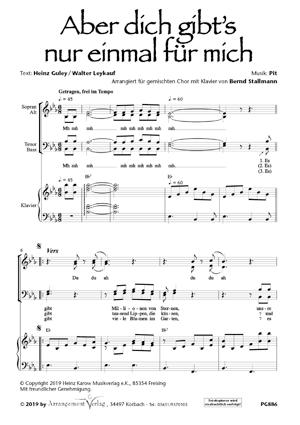 Chornoten: Aber dich gibt's nur einmal für mich (vierstimmig)