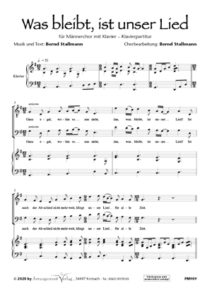 Chornoten: Was bleibt, ist unser Lied (vierstimmig)