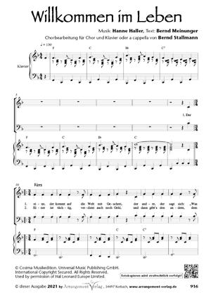 Chornoten: Willkommen im Leben (vierstimmig)
