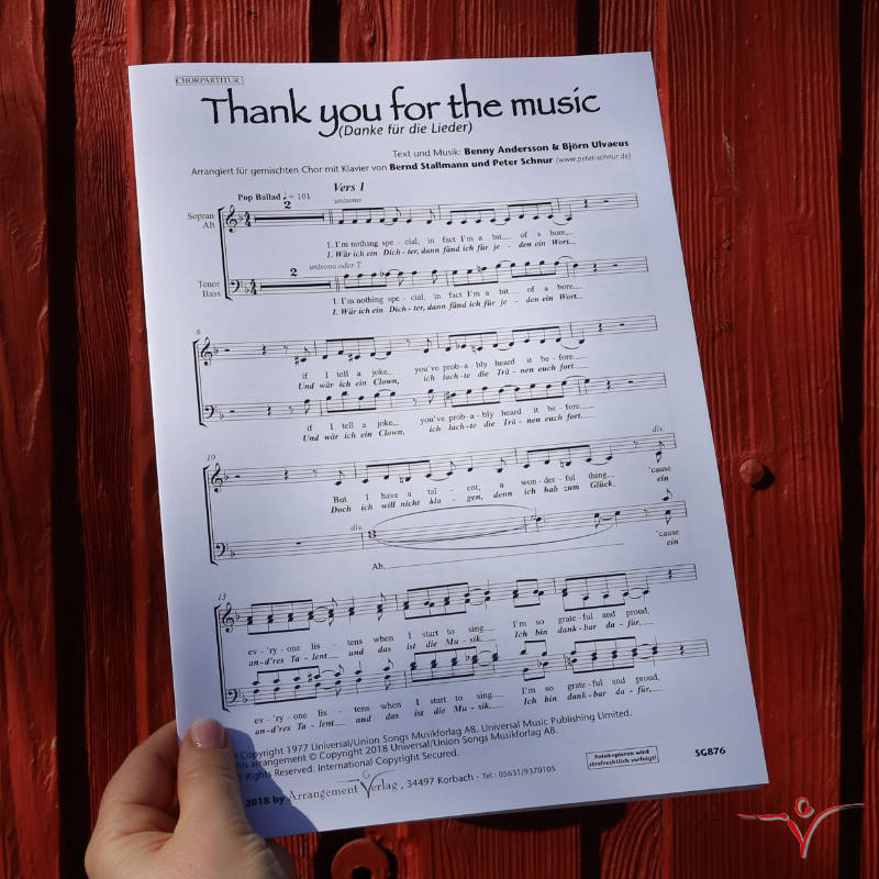 Chornoten: Danke für die Lieder / Thank You For The Music (vierstimmig)